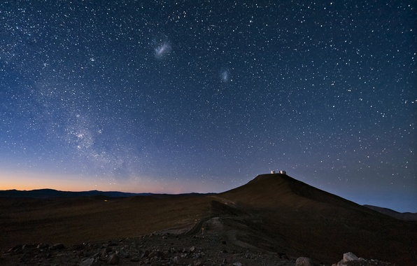 Picture the sky, stars, night, desert, The milky way, Chile, Atacama, The Magellanic clouds