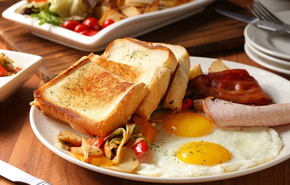 Picture eggs, bread, meat, scrambled eggs, vegetables, toast