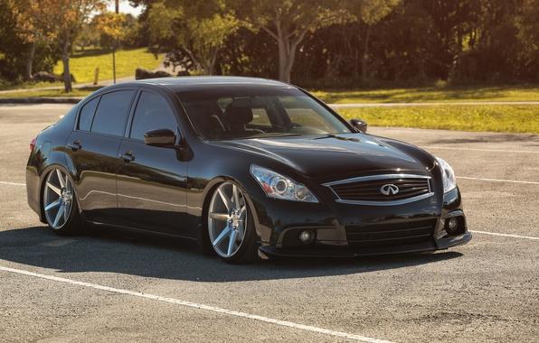 Picture tuning, Infiniti, black, drives, black, infiniti, tuning, vossen, Sedan, stance, G37