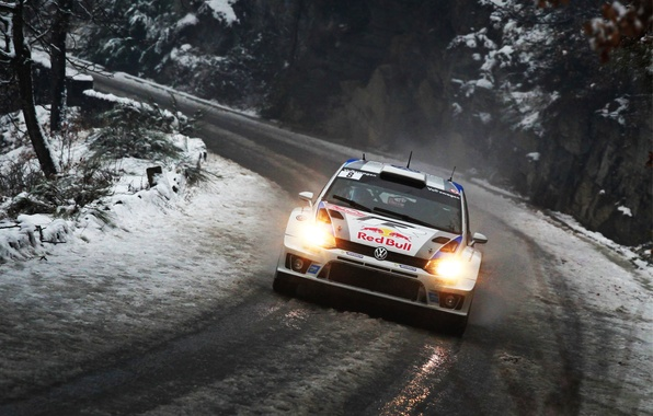 Picture road, Winter, Auto, Snow, Volkswagen, Lights, Red Bull, WRC, Rally, Volkswagen, The front, wet, Polo