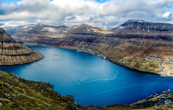 Picture clouds, mountains, ships, Denmark, panorama, Bay, the view from the top, harbour, Faroe Islands, Klaksvik