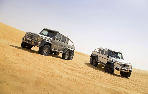 Picture Mercedes-Benz, Sand, White, Grey, AMG, G63, SUVs, Two, 6x6