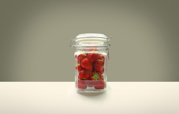 Picture berries, table, Wallpaper, minimalism, strawberry, Bank, fruit, vitamins, glass