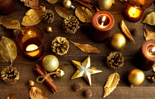 Picture leaves, stars, balls, toys, sticks, candles, cinnamon, Christmas, bumps, gold, New Year, Christmas, Christmas