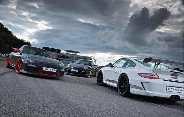 Picture white, clouds, grey, black, the building, 911, Porsche, before, silver, white, Porsche, black, track, gt3, …