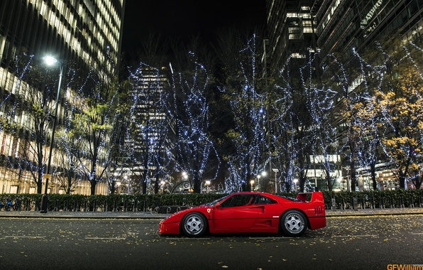 Picture night, the city, supercar, Ferrari, ferrari f40
