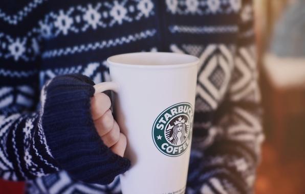 Picture winter, girl, glass, coffee, hands, sweater, starbucks