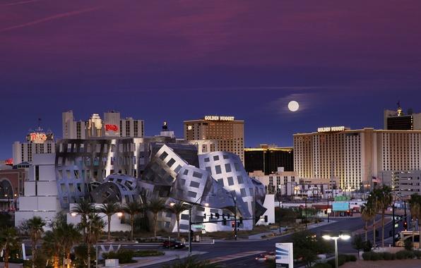 Picture the sky, night, the moon, Las Vegas, moon, USA, USA, Nevada, blue, sky, blue, night, …