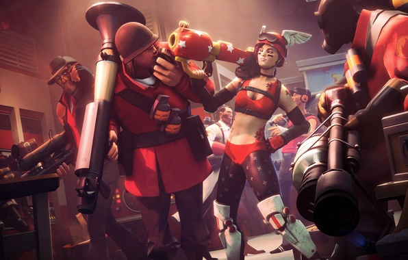 Picture girl, weapons, roses, wings, tattoo, art, helmet, guys, Team Fortress 2, Magabeth mod