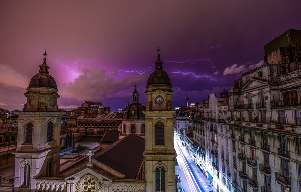 Picture the storm, the sky, night, clouds, the city, lightning, architecture, Argentina, purple, capital, Buenos Aires