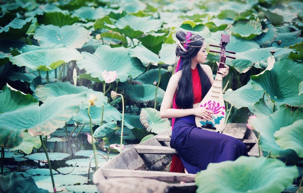Picture look, girl, lake, music, boat, Asian