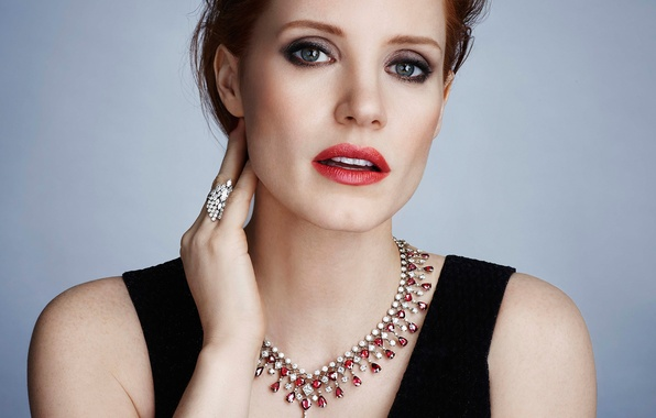 Picture background, model, portrait, necklace, makeup, actress, hairstyle, photographer, brown hair, brand, Jessica Chastain, Jessica Chastain, …