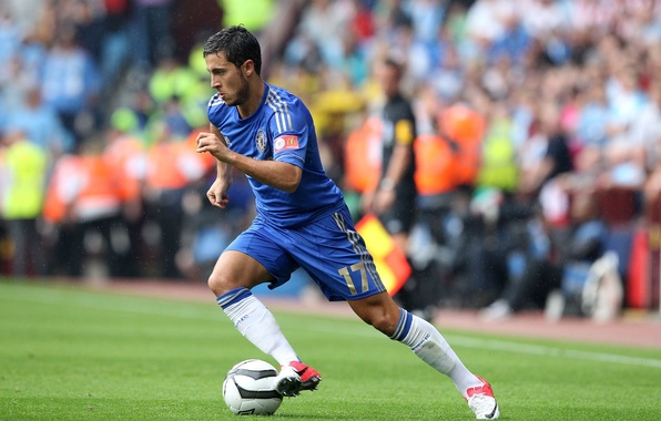 Photo wallpaper the ball, football, club, Chelsea, Chelsea, stadium, player, player, Eden, Eden, Azar, Hazard, Nike