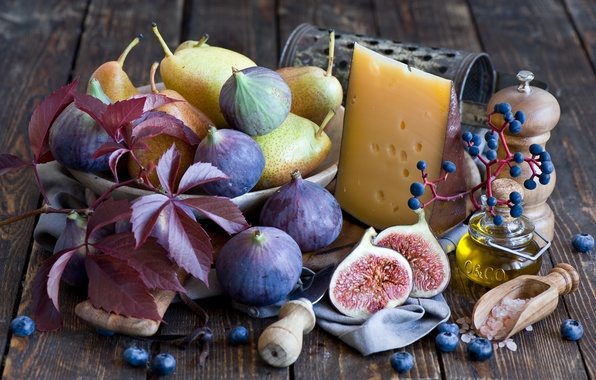 Picture leaves, berries, cheese, grapes, still life, pear, blueberries, figs, figs