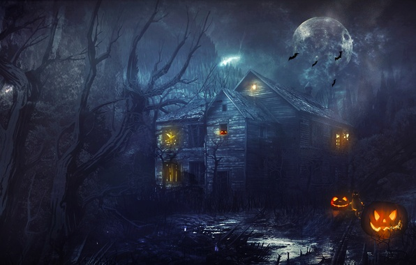 Picture forest, trees, house, the moon, pumpkin, Halloween, halloween, bats