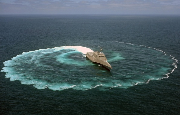 Picture the ocean, ship, round, maneuver, USA, coastal, Navy, type of vessel, USS Independence, Independence, Trimaran
