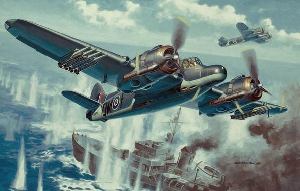 wallpaper british aircraft  ww2  painting  armyart