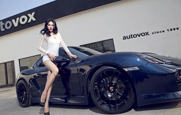 Picture machine, auto, girl, model, Porsche, Girl, Asian, car, Body, Black, korean model