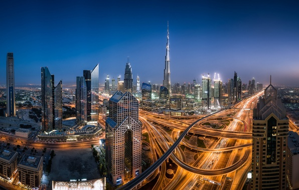 Picture building, road, panorama, Dubai, night city, Dubai, skyscrapers, UAE, UAE