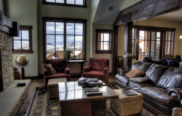 Picture design, table, sofa, interior, chairs, fireplace, somewhere in the mountains