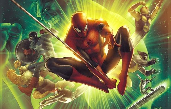 Picture Hulk, X-Men, Logan, art, wolverine, captain america, Marvel Comics, Spider-Man, silver surfer, Peter Parker, James …