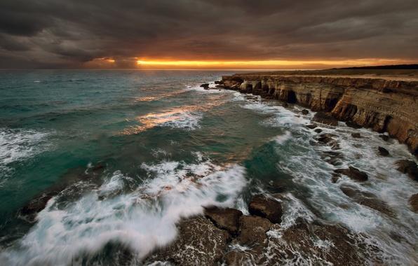 Picture sea, wave, the sky, water, clouds, light, landscape, sunset, nature, rocks, waves, light, sky, sea, …