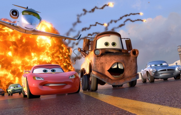 Picture machine, the explosion, sport, cartoon, Lightning, race, sport, the plane, Pixar, special agent, spy, Lightning, …