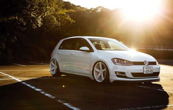 Picture The sun, White, Japan, Volkswagen, Machine, Tuning, Japan, Car, Sun, White, Tuning, Volkswagen, Vossen, Polo