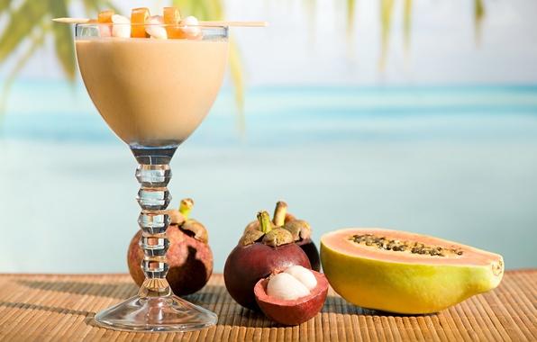 Picture macro, glass, cocktail, drink, fruit, papaya, Mat, mangosteen