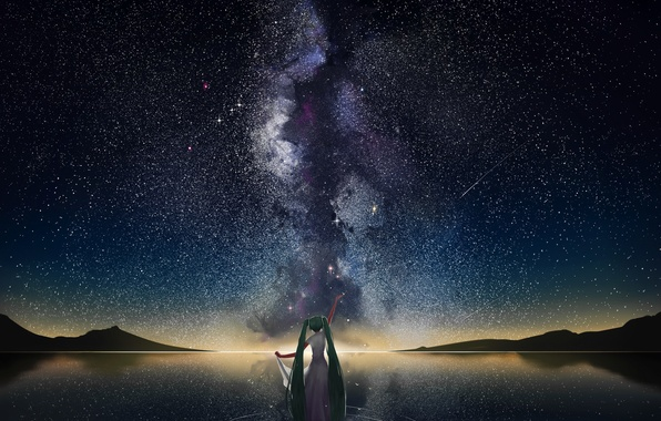 Picture water, girl, stars, mountains, reflection, anime, art, vocaloid, the milky way, hatsune miku, the sky. …
