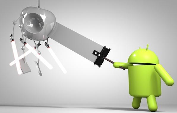 Picture apple, sword, swords, android, art, Hi-tech