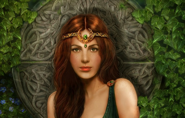 Picture girl, flowers, stones, patterns, plants, red, girl, Diadema, Princess, flowers, ivy, Celtica, circle, Celtic princess