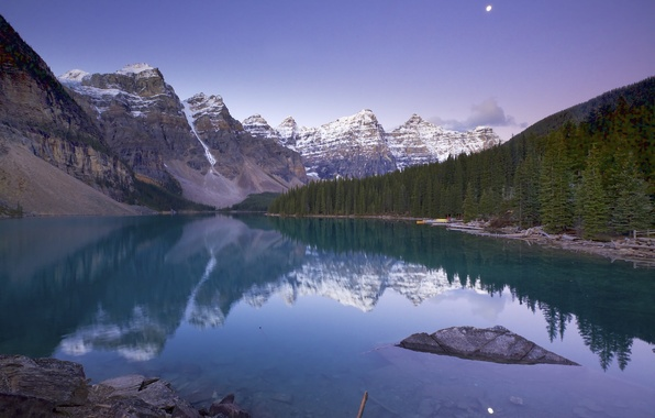 Picture forest, the sky, clouds, trees, mountains, lake, rocks, Canada, Alberta, Moraine Lake