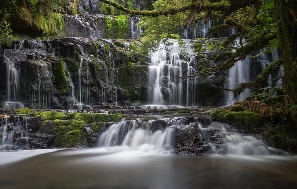 Picture river, waterfall, New Zealand, cascade, New Zealand, South Island, South island, Purakaunui Falls, Purakaunui River, …