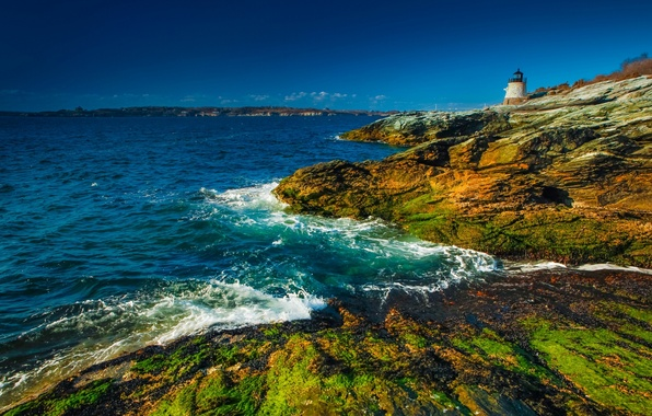 Picture coast, lighthouse, England, England, Wales, Wales, Newport, Bristol Bay, Newport