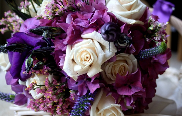 Picture flower, purple, flowers, color, roses, hydrangea, eustoma