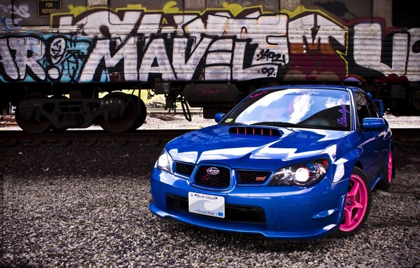 Picture road, tuning, the car, iron, pink, grafiti, subaru, drives, blue, impreza