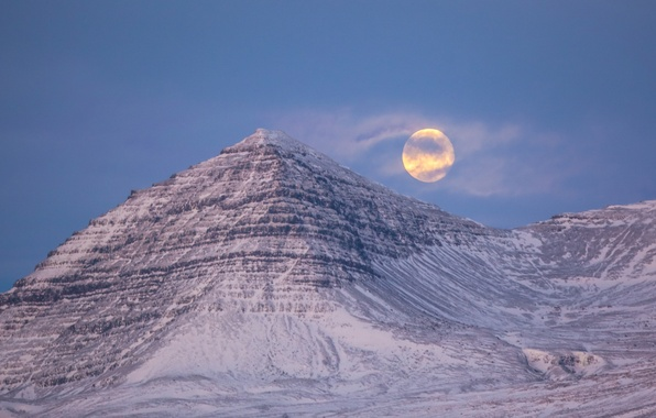 Picture the sky, clouds, snow, night, the moon, mountain, haze, the full moon, Iceland