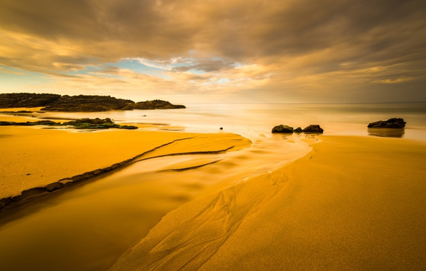 Picture sand, sea, the sky, clouds, sunset, stones, rocks, shore, tide
