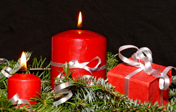 Picture holiday, new year, Christmas, candles, gifts, tree, christmas, new year, needles