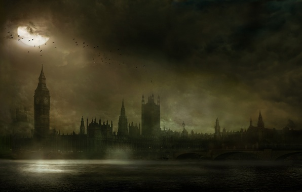 Picture London, Bridge, Night, Tower, River, Thames, Big Ben, The Testament of Sherlock Holmes