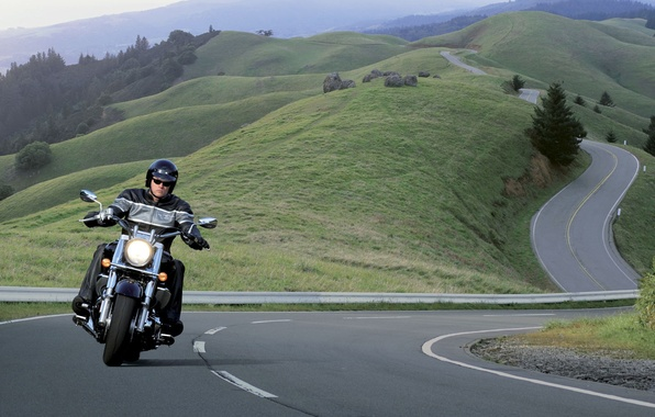 Picture Road, Serpentine, Motorcycle, Harley Davidson