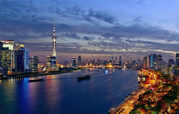 Picture water, reflection, the city, lights, home, ships, boats, the evening, excerpt, China, Asia, Shanghai, the …
