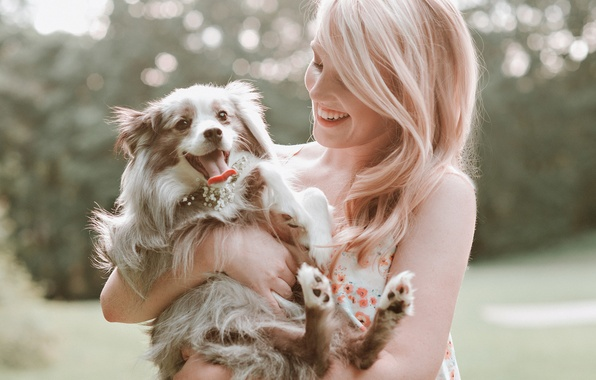 Picture girl, smile, laughter, dog, blonde, puppy