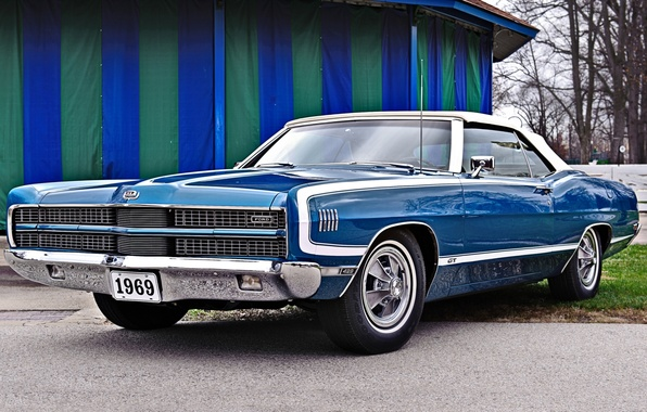 Picture blue, background, Ford, Ford, Galaxie, 1969, convertible, 500, the front, Muscle car, Convertible, 429, Muscle …