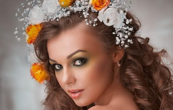 Picture girl, flowers, model, portrait, wreath