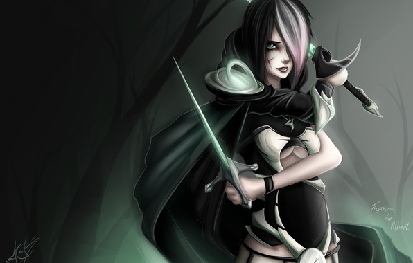 Picture forest, look, girl, weapons, swords, art, league of legends, Fiora, Zack Argunov