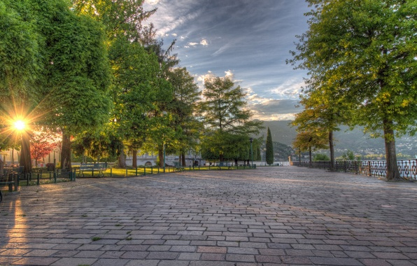 Picture trees, Park, sunrise, Italy, alley, promenade, Italy, Lombardy, Como, Como, Lombardy