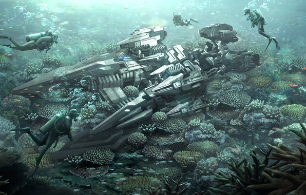 Picture sea, the bottom, corals, the diver, aliens, reef, spaceship, diver, Alien Ship, coral reef