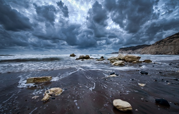 Picture wave, the sky, water, clouds, landscape, nature, stones, the ocean, rocks, shore, waves, sky, ocean, …